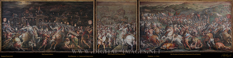 East Frescoes Vasari Salone dei Cinquecento (Hall of 500) Palazzo Vecchio Florence