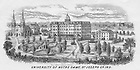 GNDL 6/16:  Engraving of campus, including the first Sacred Heart Church and Second Main Building, c1866..Image from the University of Notre Dame Archives.
