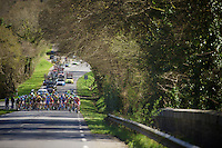 after 65 kilometers on smooth roads, the peloton is preparing for the infamous gravel sectors<br /> <br /> 33th Tro Bro Léon 2016