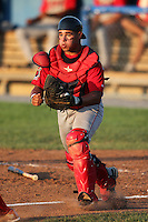 Lowell Spinners catcher Jayson Hernandez during a game vs. the Batavia Muckdogs at Dwyer Stadium in Batavia, New York July 16, 2010.   Batavia defeated Lowell 5-4 with a walk off RBI single.  Photo By Mike Janes/Four Seam Images