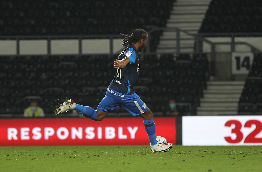 Preston North End's Daniel Johnson scores his side's second goal  from the penalty spot<br /> <br /> Photographer Mick Walker/CameraSport<br /> <br /> Carabao Cup Second Round Northern Section - Derby County v Preston North End - Tuesday 15th September 2020 - Pride Park Stadium - Derby<br />  <br /> World Copyright © 2020 CameraSport. All rights reserved. 43 Linden Ave. Countesthorpe. Leicester. England. LE8 5PG - Tel: +44 (0) 116 277 4147 - admin@camerasport.com - www.camerasport.com