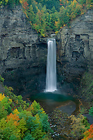 Taughannock Falls from Falls Overlook<br /> Taughannock Falls State Park<br /> Finger Lakes Region<br /> Thompkins County,  New York