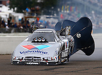 Aug 17, 2014; Brainerd, MN, USA; NHRA funny car driver Jack Beckman during the Lucas Oil Nationals at Brainerd International Raceway. Mandatory Credit: Mark J. Rebilas-