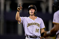 Bradenton Marauders Jackson Glenn (10) crosses home plate after hitting a home run during Game Three of the Low-A Southeast Championship Series against the Tampa Tarpons on September 24, 2021 at George M. Steinbrenner Field in Tampa, Florida.  (Mike Janes/Four Seam Images)