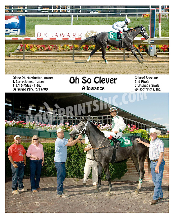 Oh So Clever winning at Delaware Park on 7/14/09
