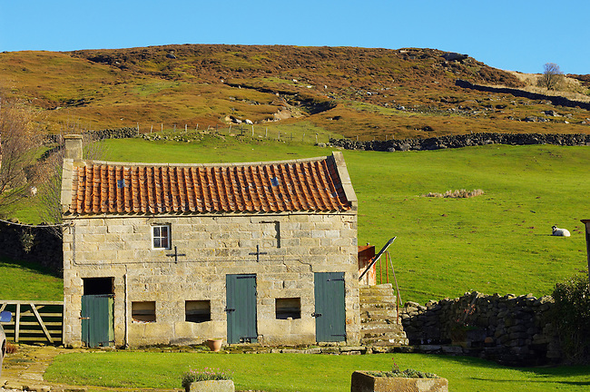 Farndale head farm building, North Yorkshire Moors National Park, England.