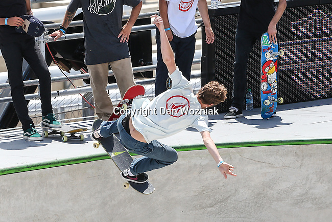 Athletes compete in the Skateboard Park Final event during the summer X-Games at the Circuit of the Americas race track in Austin, Texas.