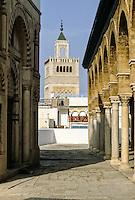 Tunis, Tunisia.  Minaret of Zeitouna Mosque, Tunis Medina.