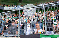 MG fans in the fan curve, with mock-up of the championship trophy soccer 1. Bundesliga, 1st matchday, Borussia Monchengladbach (MG) - FC Bayern Munich (M), on August 13th, 2021 in Borussia Monchengladbach / Germany. #DFL regulations prohibit any use of photographs as image sequences and / or quasi-video # Â