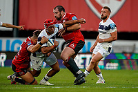 21st August 2020; Kingsholm Stadium, Gloucester, Gloucestershire, England; English Premiership Rugby, Gloucester versus Bristol Bears; Siale Piutau of Bristol powers through the tackle