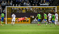 CARSON, CA - SEPTEMBER 27: Stefan Frei #24 GK of the Seattle Sounders dives for a ball during a game between Seattle Sounders FC and Los Angeles Galaxy at Dignity Heath Sports Park on September 27, 2020 in Carson, California.