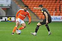Blackpool's Grant Ward under pressure from Milton Keynes Dons' Scott Fraser<br /> <br /> Photographer Kevin Barnes/CameraSport<br /> <br /> The EFL Sky Bet League One - Blackpool v Milton Keynes Dons - Saturday 24 October 2020 - Bloomfield Road - Blackpool<br /> <br /> World Copyright © 2020 CameraSport. All rights reserved. 43 Linden Ave. Countesthorpe. Leicester. England. LE8 5PG - Tel: +44 (0) 116 277 4147 - admin@camerasport.com - www.camerasport.com