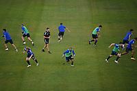 SAN JOSE, CA - SEPTEMBER 19: San Jose Earthquakes players during warmups before a game between Portland Timbers and San Jose Earthquakes at Earthquakes Stadium on September 19, 2020 in San Jose, California.