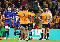 17th July 2021; Brisbane, Australia;  Australia's Marika Koroibete receives a red card during the Australia versus France, 3rd Rugby Test at Suncorp Stadium, Brisbane, Australia on Saturday 17th July 2021.