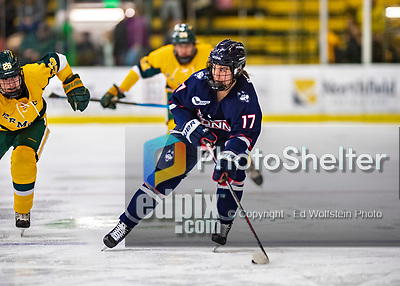 8 February 2020: University of Connecticut Husky Forward Savannah Bouzide, a Junior from Amherstburg, Ontario, in first period action against the University of Vermont Catamounts at Gutterson Fieldhouse in Burlington, Vermont. The Huskies defeated the Lady Cats 4-2 in the first game of their weekend Hockey East series. Mandatory Credit: Ed Wolfstein Photo *** RAW (NEF) Image File Available ***