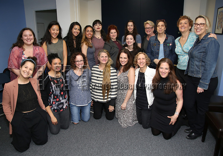 Front row, L to R: Shaina Taub, Masi Asare, Lynne Shankel, Bonnie Comley (Broadway HD), Georgia Stitt, Kathy Sommer, Kara Unterberg (The NY SongSpace)<br /> Back row, L to R: Kailey Marshall, Minhui Lee, Macy Schmidt, Rona Siddiqui, Christie Baugher, Lisa DeSpain, Ioana Preda Buburuzan , Shoshana Shattenkirk, Ilene Reid, Kim Sherman, Tina deVaron, Beth Falcone during the MAESTRA May Meeting with guest speaker Bonnie Comley at The New York SongSpace on May 8, 2019 in New York City.