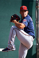 Minnesota Twins pitcher Jose Berrios (17) throws in the bullpen during a Spring Training practice on February 22, 2019 at Hammond Stadium in Fort Myers, Florida.  (Mike Janes/Four Seam Images)