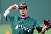 April 2, 2008: Infielder Kristopher Negron (17) of the Greenville Drive, Class A affiliate of the Boston Red Sox, during Media Day at Fluor Field at the West End in Greenville, S.C. Photo by:  Tom Priddy/Four Seam Images