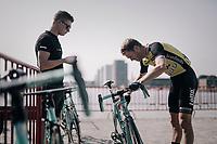 Lars Boom (NED/LottoNL-Jumbo) checking his bike at the race start<br /> <br /> 92nd Schaal Sels 2017 <br /> 1 Day Race: Merksem > Merksem (188km)