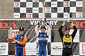 Scott Dixon, Chip Ganassi Racing Honda, Takuma Sato, Rahal Letterman Lanigan Racing Honda, Sebastien Bourdais, Dale Coyne Racing with Vasser-Sullivan Honda victory lane