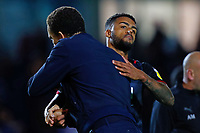 28th August 2021; Weston Homes Stadium, Peterborough, Cambridgeshire, England; EFL Championship football, Peterborough United versus West Bromwich Albion; West Bromwich Albion Head Coach Valerien Ismael congratulates Darnell Furlong of West Bromwich Albion after the final whistle