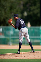 GCL Yankees West starting pitcher Anderson Reynoso (29) looks in for the sign during the first game of a doubleheader against the GCL Braves on July 30, 2018 at Champion Stadium in Kissimmee, Florida.  GCL Yankees West defeated GCL Braves 7-5.  (Mike Janes/Four Seam Images)