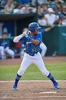 Jefrey Souffront (29) of the Ogden Raptors bats against the Idaho Falls Chukars at Lindquist Field on July 29, 2018 in Ogden, Utah. The Raptors defeated the Chukars 20-19. (Stephen Smith/Four Seam Images)
