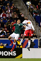 Harrison, NJ - Tuesday April 10, 2018: Carlos Salcido, Bradley Wright-Phillips during leg two of a  CONCACAF Champions League semi-final match between the New York Red Bulls and C. D. Guadalajara at Red Bull Arena. C. D. Guadalajara defeated the New York Red Bulls 0-0 (1-0 on aggregate).