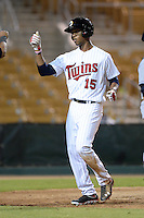 Glendale Desert Dogs outfielder Byron Buxton (15), of the Minnesota Twins organization, after hitting a home run during an Arizona Fall League game against the Peoria Javelinas on October 14, 2013 at Camelback Ranch Stadium in Glendale, Arizona.  Glendale defeated Peoria 5-1.  (Mike Janes/Four Seam Images)
