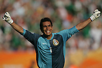 JUNE 11, 2006: Nuremberg, Germany: Mexican goalkeeper (1) Oswaldo Sanchez celebrates the first Mexican goal against Iran during the World Cup Finals at Franken-Stadion in Nuremberg, Germany.  Mexico defeated Iran, 3-1.