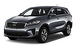 2020 KIA Sorento S-V6 5 Door SUV Angular Front automotive stock photos of front three quarter view