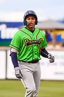 Lake County Captains catcher Bo Naylor (24) heads back to the dugout during a Midwest League game against the Wisconsin Timber Rattlers on May 10, 2019 at Fox Cities Stadium in Appleton, Wisconsin. Wisconsin defeated Lake County 5-4. (Brad Krause/Four Seam Images)