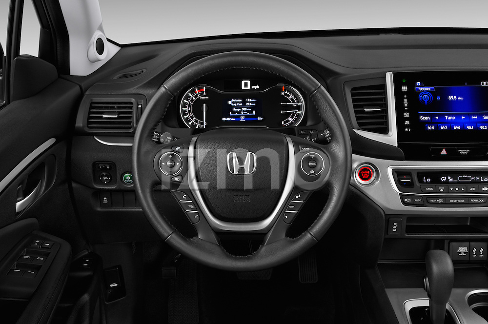 Car pictures of steering wheel view of a 2018 Honda Pilot EX-L 5 Door Suv Steering Wheel
