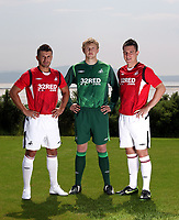 Pictured L-R: Matthew (Matty) Collins, unknown and Marcos Painter<br /> Re: Swansea City Football Club new kit presentation at Machybys Golf Club near Llanelli west Wales. Tuesday 23 June 2009<br /> Picture by D Legakis Photography / Athena Picture Agency, 24 Belgrave Court, Swansea, SA1 4PY, 07815441513