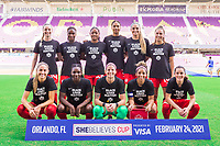 ORLANDO, FL - FEBRUARY 24: CANWNT starting XI before a game between Brazil and Canada at Exploria Stadium on February 24, 2021 in Orlando, Florida.