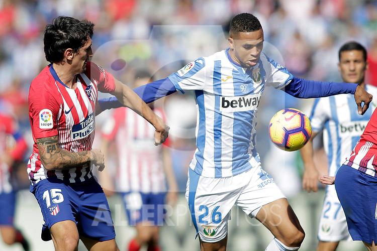 CD Leganes' Youssef En-Nesyri (r) and Atletico de Madrid's Stefan Savic during La Liga match. November 3,2018. (ALTERPHOTOS/Acero)