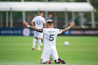 LAKE BUENA VISTA, FL - JULY 23: Francisco Calvo #5 of the Chicago Fire before the game during a game between Chicago Fire and Vancouver Whitecaps at Wide World of Sports on July 23, 2020 in Lake Buena Vista, Florida.
