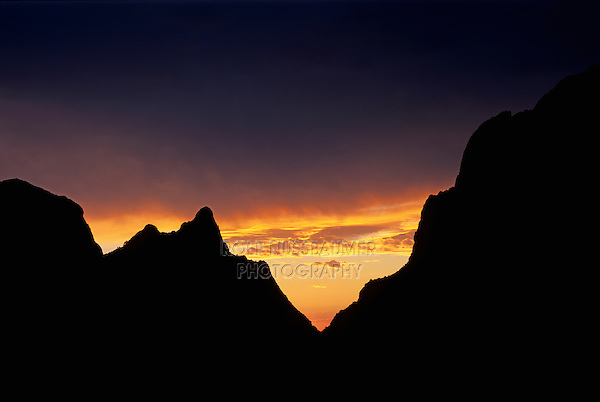 The Window at sunset, Chisos Basin, Chisos Mountains, Big Bend National Park, Chihuahuan Desert, West Texas, USA