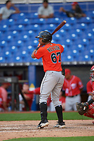 Miami Marlins James Nelson (67) at bat during a Florida Instructional League game against the Washington Nationals on September 26, 2018 at the Marlins Park in Miami, Florida.  (Mike Janes/Four Seam Images)