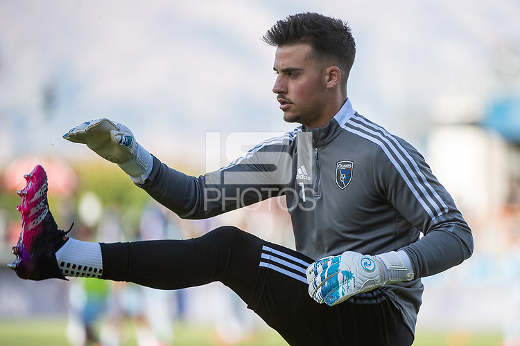 SAN JOSE, CA - MAY 22: JT Marcinkowski #1 of the San Jose Earthquakes warms up before a game between San Jose Earthquakes and Sporting Kansas City at PayPal Park on May 22, 2021 in San Jose, California.