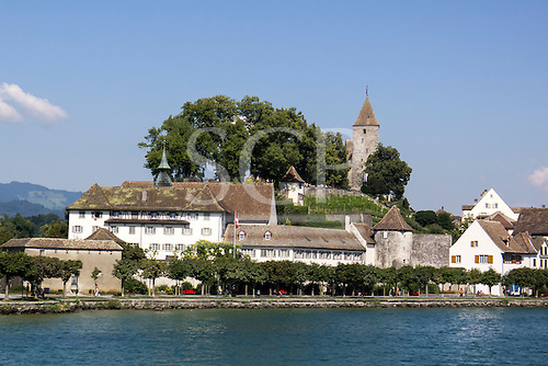 Rapperswil, Switzerland. View of village and old buildings from the lake.
