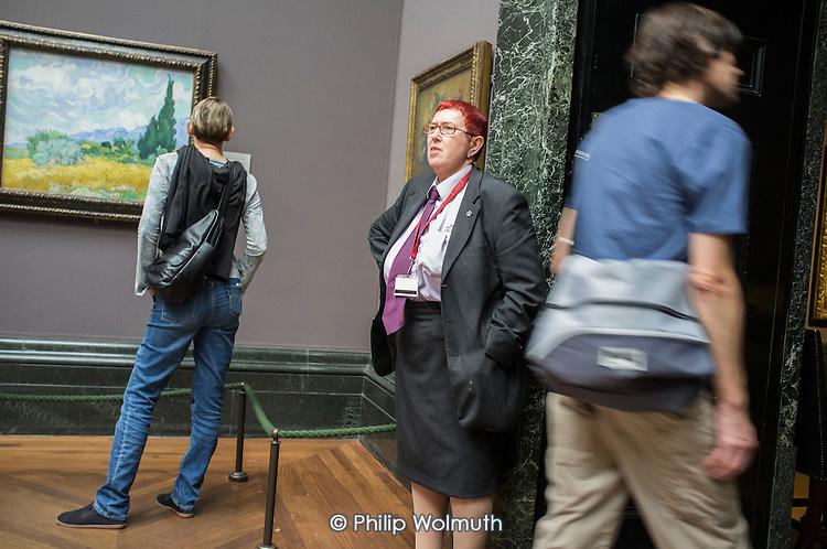 Gallery attendant, National Gallery, Trafalgar Square, London.