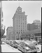 """""""Jackson Tower, Yamhill & Broadway"""" (looking east on Yamhill) July 1, 1950"""