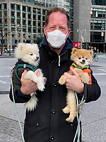 4/22/20-New York City, in the time of Coronavirus. Excuse me, are you walking those dogs or are they walking you? People seem so surprised when I actually say hello to them. Just because we're wearing face masks doesn't mean we can't be friendly anymore, albeit from a safe distance. Show some love to those you encounter. We're all in this together. It's a shitty time and we can't all be cuddling cute animals right now.