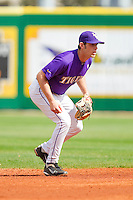 Shortstop Austin Nola #36 of the LSU Tigers on defense against the Wake Forest Demon Deacons at Alex Box Stadium on February 20, 2011 in Baton Rouge, Louisiana.  The Tigers defeated the Demon Deacons 9-1.  Photo by Brian Westerholt / Four Seam Images