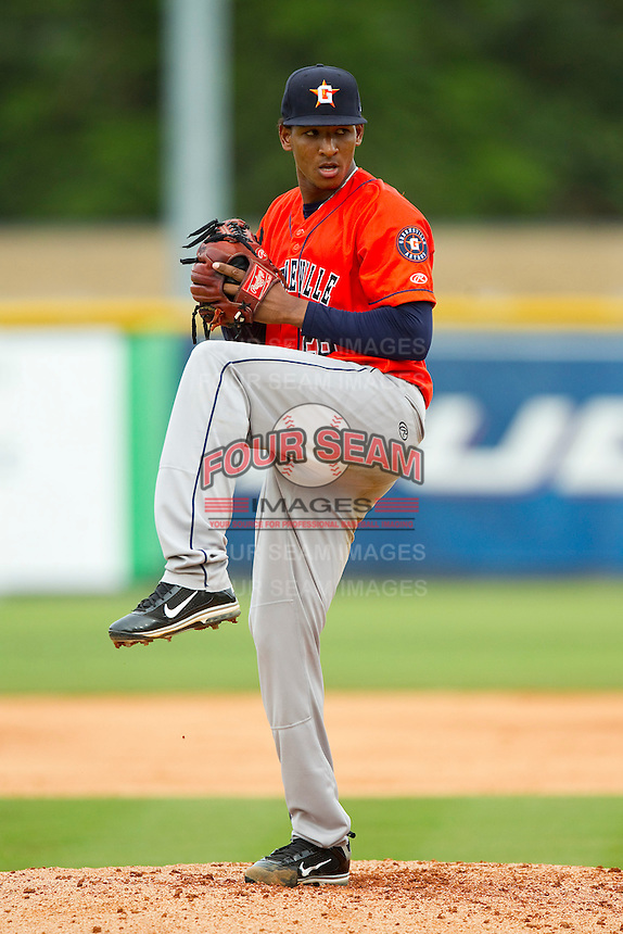 Greeneville Astros starting pitcher Edison Frias (26) in action against the Burlington Royals at Burlington Athletic Park on July 1, 2013 in Burlington, North Carolina.  The Astros defeated the Royals 7-0 in Game One of a doubleheader.  (Brian Westerholt/Four Seam Images)