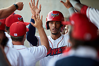 Orem Owlz Jeremiah Jackson (23) is congratulated by teammates after scoring a run during a Pioneer League game against the Idaho Falls Chukars at The Home of the OWLZ on August 13, 2019 in Orem, Utah. Orem defeated Idaho Falls 3-1. (Zachary Lucy/Four Seam Images)
