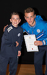 St Johnstone FC Academy Awards Night...06.04.15  Perth Concert Hall<br /> Ally Gilchrist presents a certificate to Blair White<br /> Picture by Graeme Hart.<br /> Copyright Perthshire Picture Agency<br /> Tel: 01738 623350  Mobile: 07990 594431