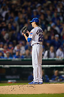 Chicago Cubs pitcher Kyle Hendricks (28) in the first inning during Game 3 of the Major League Baseball World Series against the Cleveland Indians on October 28, 2016 at Wrigley Field in Chicago, Illinois.  (Mike Janes/Four Seam Images)