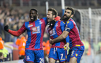 Celebrations as Yohan Cabaye (7) of Crystal Palace scores from the penalty spot with Bakary Sako (26) of Crystal Palace & Mile Jedinak of Crystal Palace joining him during the FA Cup quarter-final match between Reading and Crystal Palace at the Madejski Stadium, Reading, England on 11 March 2016. Photo by Andy Rowland/PRiME Media Images.
